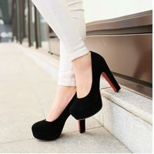Big size 32-43 High Heels Platform Pumps Shoes 2015 New Arrivals Red Bottom Wedding Shoes Flock Platform Pumps Fashion 2015(China (Mainland))