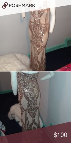 8f34e83e Betsy and Adam Rose Gold sequin dress Beautiful evening gown worn once  Betsy & Adam Dresses