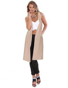 New Women Fashion Sleeveless Long Windbreaker Outwear Cardigan Vest Coat