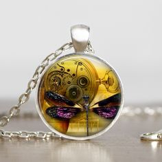 Steampunk Purple Wings Dragonfly Handmade Glass Pendant Necklace.