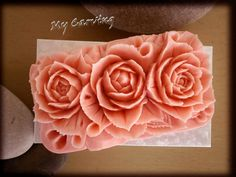 Carving soap Three roses, thai carving soap decoration, bath soap decoration, art soap carving, wedding gift, pink soap roses, birthday gift by ABCarving on Etsy
