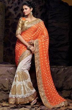 USD 130.65 Orange Banarasi Georgette Wedding Saree 47378