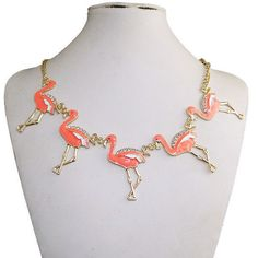 Five Bird Flamingo Necklace Pendant Austrian Crystal Pink Enamel Gold Tone Chain