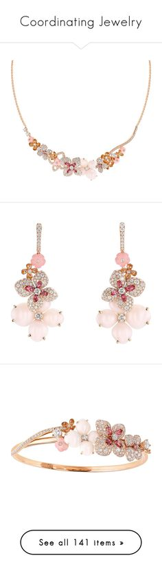 """""""Coordinating Jewelry"""" by thesassystewart on Polyvore featuring jewelry, necklaces, pink diamond jewelry, pink gold necklace, diamond jewelry, red gold necklace, rose gold necklace, earrings, pink earrings and diamond earring jewelry"""