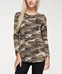 Green Camo Long-Sleeve Tee.  Trendy, Modern and Cool Camouflage long sleeve Shirt.         Cute, trendy and stylish you will appreciate this addition to your wardrobe.  In addition to being fashion forward you will make a lasting first impression.  Looking cute is affordable especially when it comes to womens dresses, womens shirts, womens sweaters and womens jeans. In conclusion it is effortless to looking stunningly beautiful and adorable.