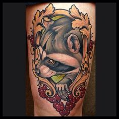 Raccoon tattoos have risen in popularity over recent years, due to the success of Guardians of the Galaxy and Rocket Raccoon. Great Tattoos, Beautiful Tattoos, Body Art Tattoos, Hand Tattoos, Sleeve Tattoos, Sailor Jerry, New School Tattoo Design, Framed Tattoo, Tatoo