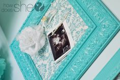 Fabric Covered Cork Board Frame. All you do is put fabric over cork board and then frame it. This is sooo pretty!