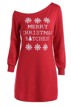 $15.67 Skew Neck Christmas Long Sleeve Dress