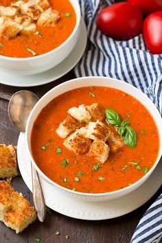 It doesn't get much better than Homemade Tomato Basil Soup with grilled cheese croutons. Delicious tomato soup with roasted tomatoes and onions. Heavenly!