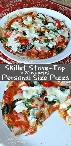 """This Easy Skillet Stove Top Personal Size Pizza is a """"no bake"""", ready in 20 minutes, quick and easy pizza recipe. Click thru for easy recipe. Vegetarian Pizza Recipe, Pizza Recipes, Lunch Recipes, Appetizer Recipes, Appetizers, Flatbread Recipes, Skillet Recipes, Sandwich Recipes, Fruit Recipes"""