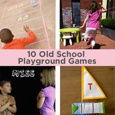 "10 Old School Playground Games! I LOVE ""London Calling"" and the hula hoop game! Definitely going to incorporate these into recess/after-school. Toddler Party Games, Games For Toddlers, Activities For Kids, Kid Activites, Motor Activities, Outdoor Activities, Outdoor Party Games, Outdoor Games For Kids, Outdoor Play"