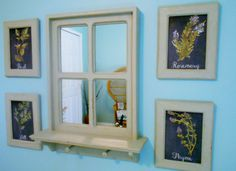 Rustic Window Mirror and Framed Herbs Kitchen Wall Art by PineTerraceTreasures on Etsy