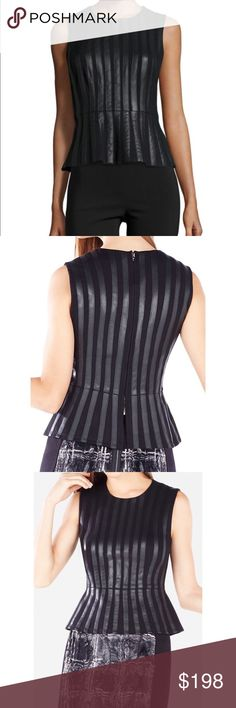 BCBGMAXAZRIA Roland faux leather peplum top The Roland peplum top, slim silhouette that has a jewel neckline, striped faux leather sleeveless; with moderate coverage on the shoulders. The seam across the natural waistline, BCBGMaxAzria Tops Blouses