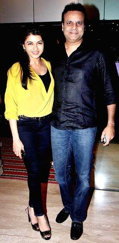 Bhagyashree with hubby Himalaya at the screening of 'Riddick' #Fashion #Style