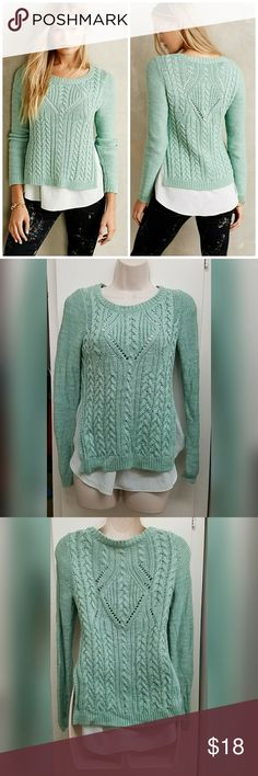 Anthropologie Moth mint green layered sweater In good condition cute comfy sweater looks great with just about any kind of jeans   CHECK OUT MY OTHER LISTINGS ON MORE AMAZING DEALS Anthropologie Sweaters Cowl & Turtlenecks