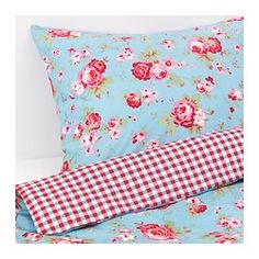 ROSALI Quilt cover and 2 pillowcases, blue - blue - 150x200/50x80 cm - IKEA