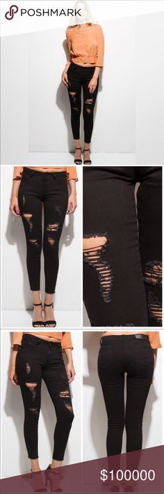 COMING SOONBlack Distressed Jeans w/Frayed Hem Trendy Black distressed jeans. Frayed at bottom hem to finish off the look. These are a must have for your wardrobe pairs well with all kinds of footwear. 98% Cotton/2% Spandex, so these will fit great! Jeans Skinny