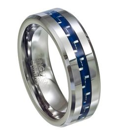 Blue Carbon Fiber Men's Tungsten Ring with Beveled Edges and Polished Finish