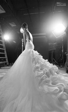 Discount Newest Luxury Spaghetti Strap Inbal Dror Wedding Dress Pleat Beads Organza Sexy Mermaid Inbal Dror Wedding Dress With Long Train Or...