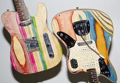 Recycled skateboards transformed into beautiful guitars