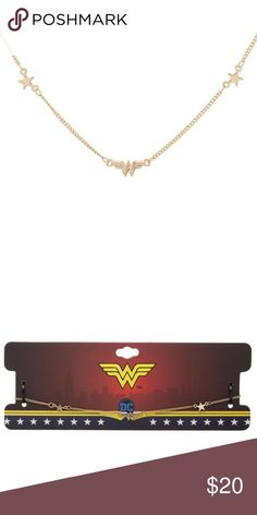Wonder Woman Necklace Petite with Stars DC Comics This is for 1 Wonder Woman themed necklace.  This necklace has a small Wonder Woman logo with stars on each side.  The chain is 14 inches long, with a 3 inch extender.  Made by Bioworld, Officially Licensed.  Theme:  DC Comics - Officially Licensed Theme: Wonder Woman  Type: Necklace Brand: Bioworld Material: Metal (Zinc Alloy)  Intended for Ages 14 and Up.   CONDITION - New  Check out my Posh for more DC and Wonder Woman jewelry and other…