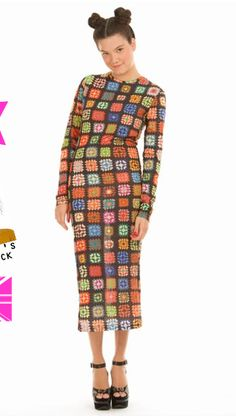 This granny square dress is so cool