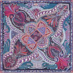 Hermes Le Jardin de la Maharani 100% silk twill scarf, hand-rolled (90 x 90 cm)  Color : navy/violet/mauve   Designed by Annie Faivre
