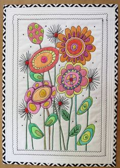 """""""Prairie Flowers"""" by mamacjt, Design was drawn, the colored, then stitched. Art/sewing project to adapt for kids? Thread Painting, Fabric Painting, Fabric Art, Small Quilts, Mini Quilts, Patchwork Quilting, Applique Quilts, Free Motion Embroidery, Machine Embroidery"""