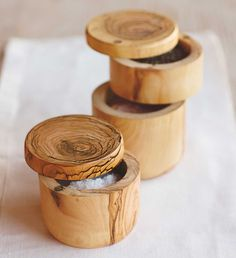 French Olive Wood Salt and Pepper Keepers