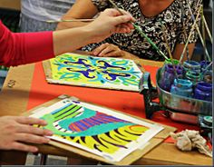 smART Class: AWESOME Crayon Batik!~ pretty cool. I just like how they used the frying pan to heat up the crayons. Never thought of that before!
