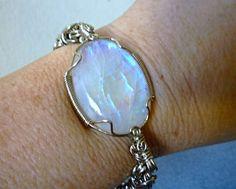 Wire wrap bracelet, Beautiful rainbow moonstone, natural stone bracelet, chainmaille bracelet, wire wrapped jewelry handmade, gypsy, chunky