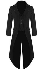 Mens Gothic Tailcoat Jacket Black Steampunk VTG Victorian Coat (L, Black)