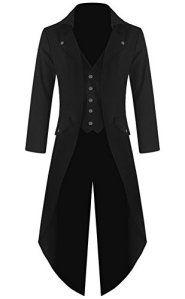 Mens Gothic Tailcoat Jacket Black Steampunk VTG Victorian Coat (L, Black)