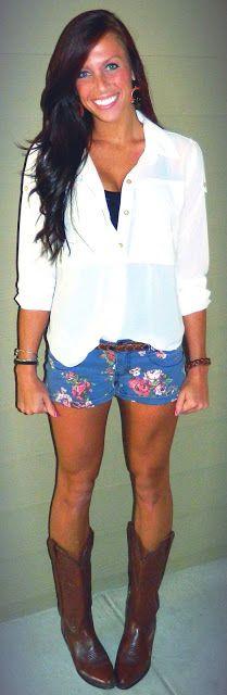 white button up, floral shorts, cowboy boots