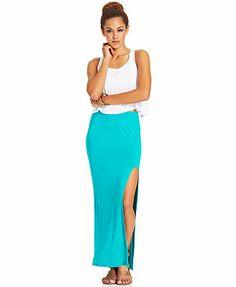 Material Girl Juniors' High-Slit Maxi Skirt