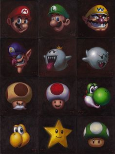 Twenty One Mario Characters by iconicafineart