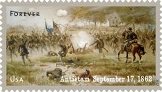 """Forever"" stamp issued in 2012 by the USPS commemorating the 150th Anniversary of the Battle of Antietam, September 17, 1862. USPS image."