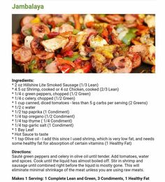 Chicken Sausage Recipes, Smoked Sausage Recipes, Bariatric Food, Bariatric Recipes, Delicious Dinner Recipes, Yummy Food, Lean Dinners, Recipe Using Chicken