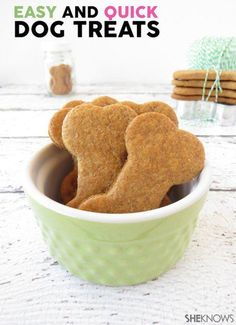 **Easy DIY dog treats (4 items: organic peanut butter, whole wheat flour, milk & baking powder) use a toothpick to write dog name, yum, etc before baking.  My dog gobbled them up!