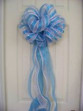 Baby Shower Boy Blue & White Stripe Mesh Bow Birth Announcement Hospital Door