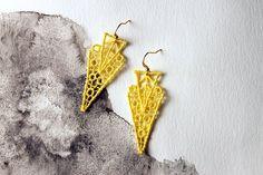 yellow lace earrings // ZAHRA // geometric earrings / art deco earrings / modern earrings/ unique earrings / statement earrings