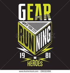 Running sport typography, t-shirt graphics, vectors