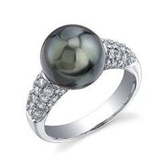 10mm Tahitian South Sea Cultured Pearl & Diamond Serenity Ring in 18K Gold