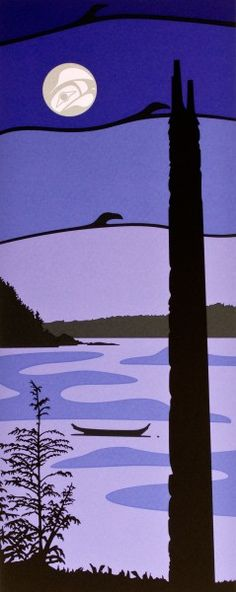 """"""" SEALION TOWN """" ROY HENRY VICKERS. My connection to my Haida ancestors is found in this image near Skidegate in Gwaii Hanas."""
