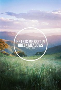❥ He maketh me to lie down in green pastures, He restoreth my soul. ~Psalm 23:2