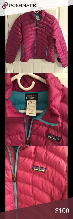 Patagonia down sweater jacket Size L Cute Patagonia down sweater jacket in a size large.  A nice light weight coat that can take you into spring.  Good preowned condition.  While listing I did notice a tiny pull on the sleeve.  Please see last photo. Patagonia Jackets & Coats Puffers