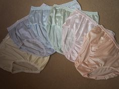 Pretty Pastels ..All Nylon Embroidered Brief Panties.