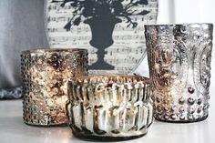 Mercury votives Candle Picture, Wedding Inspiration, Wedding Ideas, September 28, Hannukah, Beautiful Candles, Types Of Lighting, Candle Lanterns, Mercury Glass
