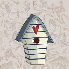 Cuadros infantiles : Pegatina casa de pájaros gris