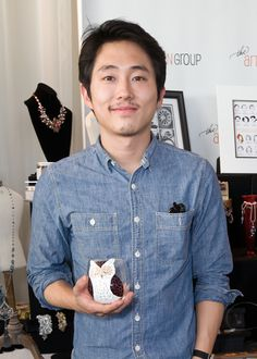"""Steven Yeun of """"The Walking Dead"""" with Swirly Garden Boutique."""
